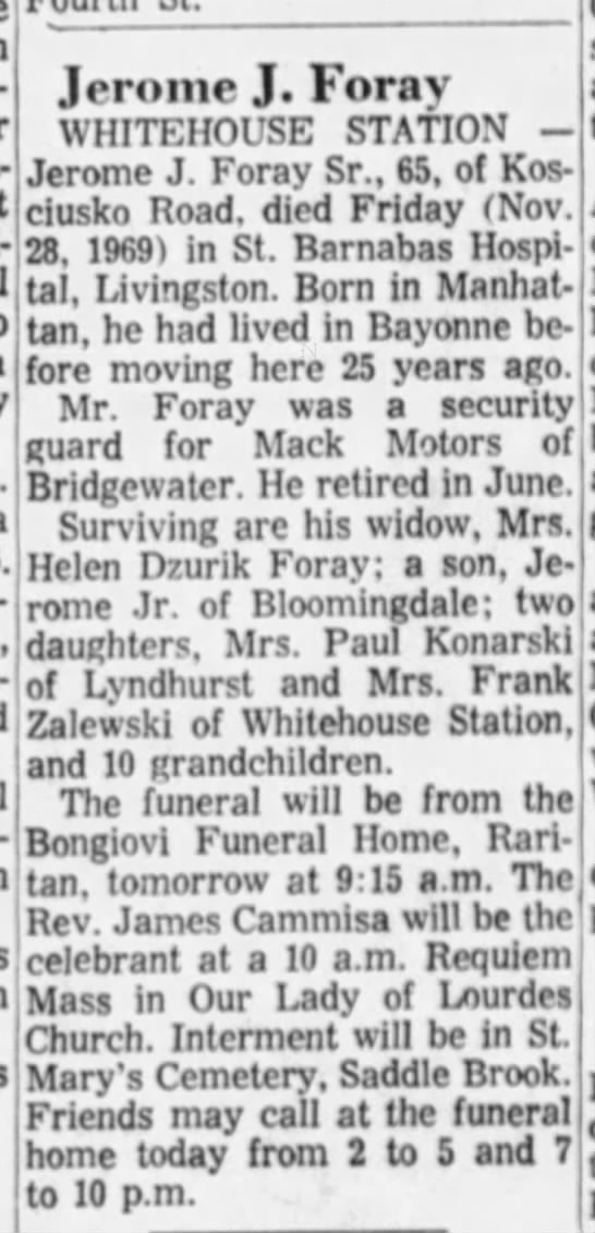 Foray, Jerome J., The Courier-News, Bridgewater, New Jersey, 1 Dec 1969, p. 2 -