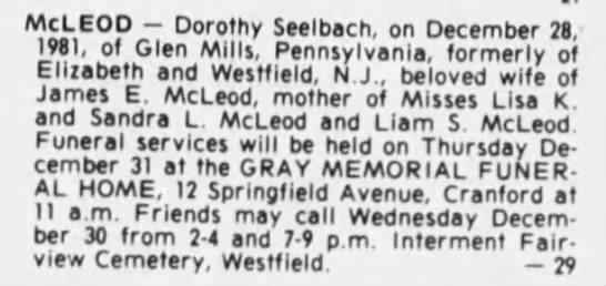Dorothy McLeod Funeral Services 31 Dec 1981 -