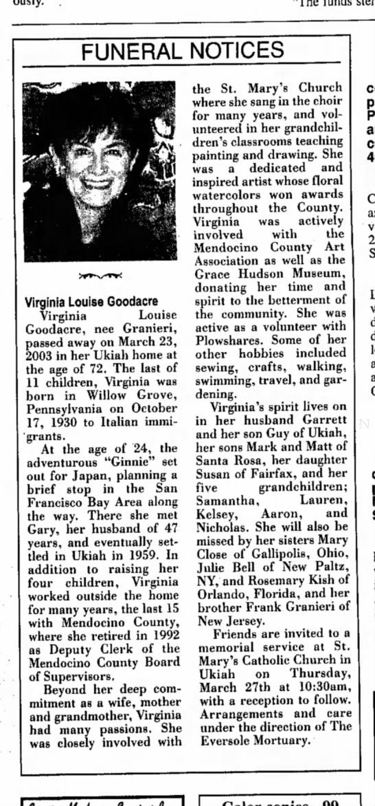 Aunt Ginnie Funeral Notice -