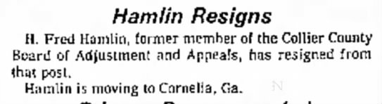 Hamlin Resigns - 12 Oct 1976 -