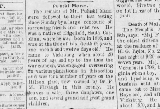 Best obit of Pulaski Mann, native of Edgefield South Carolina. -