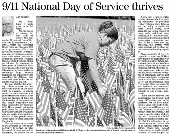 National Day of Service and Remembrance, 2016 -