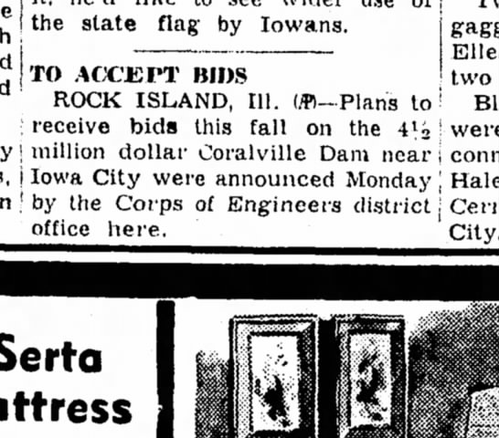 coralville dam bids