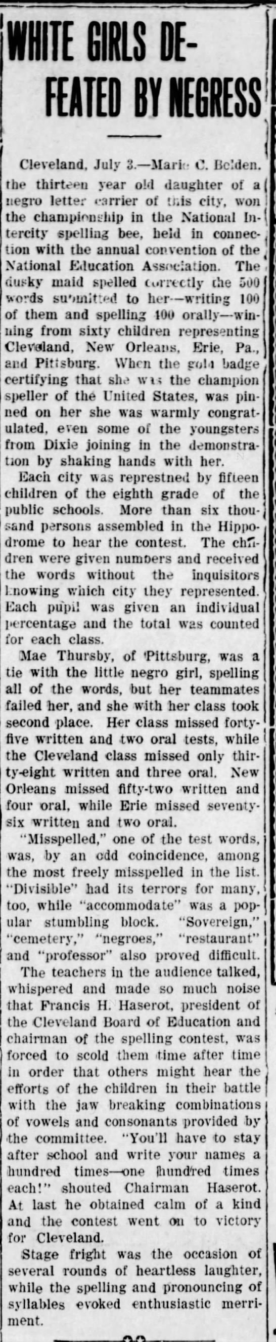 White Girls Defeated by Negress. The Vicksburg American (Vicksburg, Mississippi) July 3, 1908, p 3 -