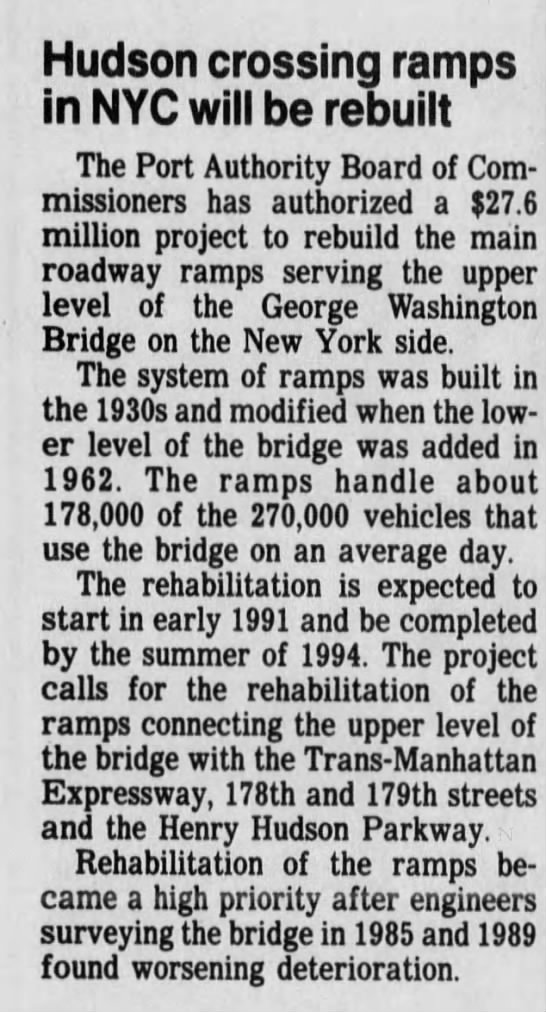 Hudson crossing ramps in NYC will be rebuilt -