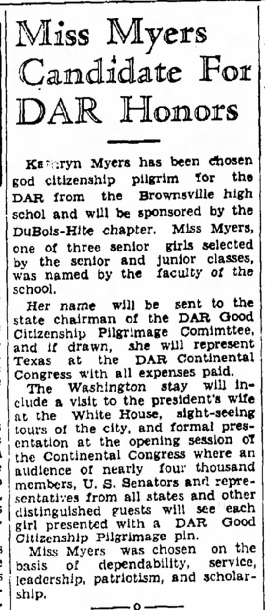 1940 DAR Good Citizenship Pilgrimage - TX -