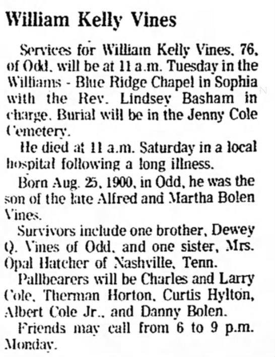 Vines Obituary -