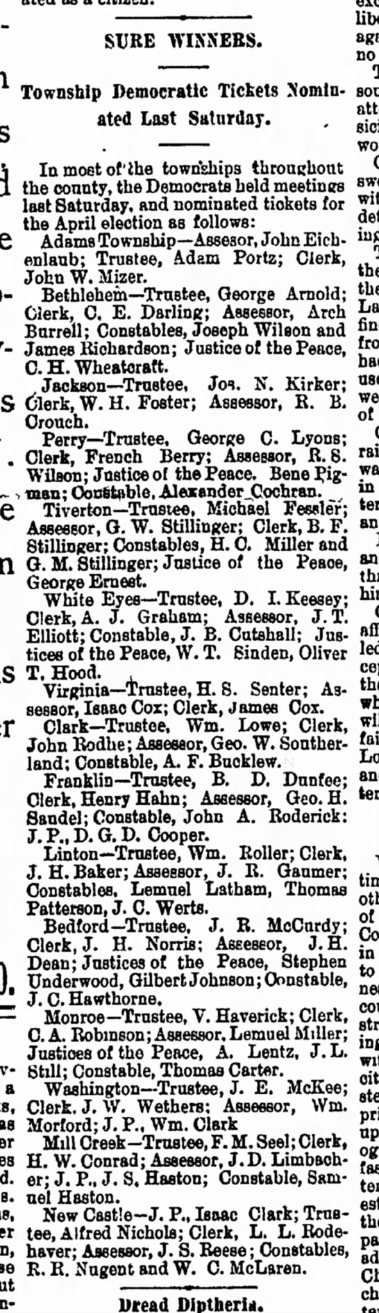 Justice of the Peace - William Thomas Sinden, The Democratic Standard, 16 Mar 1894, p. 1 -