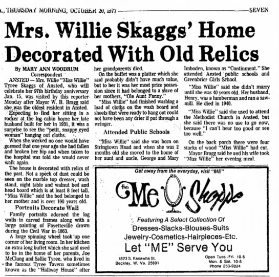 Willie Tyree Skaggs 97 Birthday -