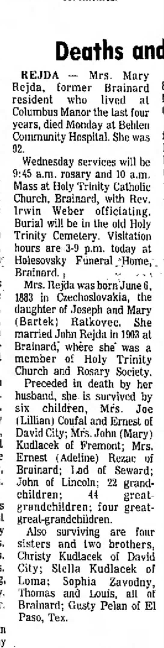 Mary Rejda obit - 20 Jan 1976, Columbus Telegram, Nebraska -
