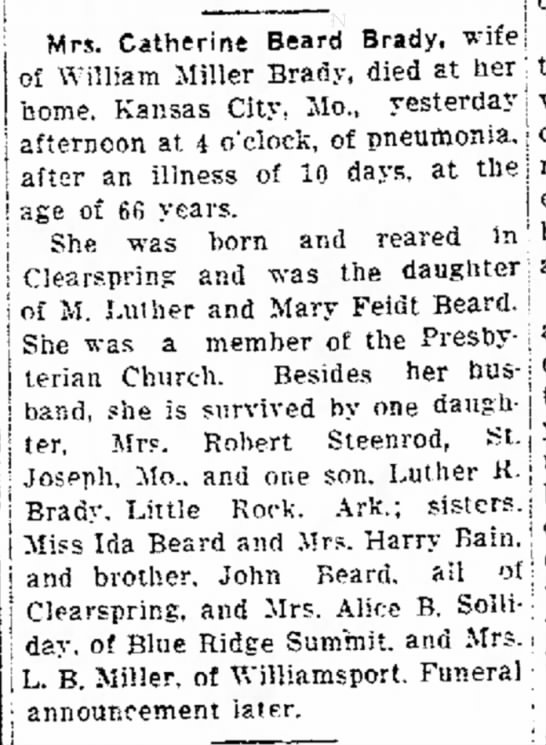 Catherine Beard Brady obit