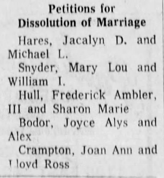 Joyce Bodor and Alex Divorce 1974 -