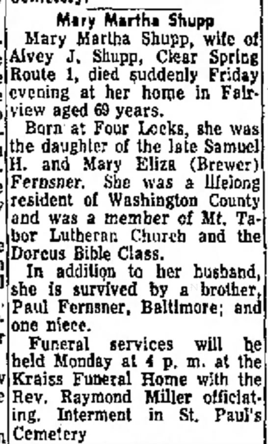 Fernsner, Mary Martha Shupp-Death-26 Sep 1959 -