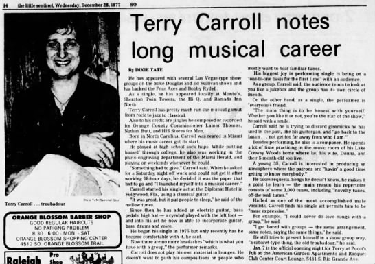 Article about TERRY CARROLL -