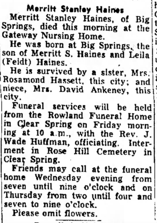 Merritt Stanley Haines obit
