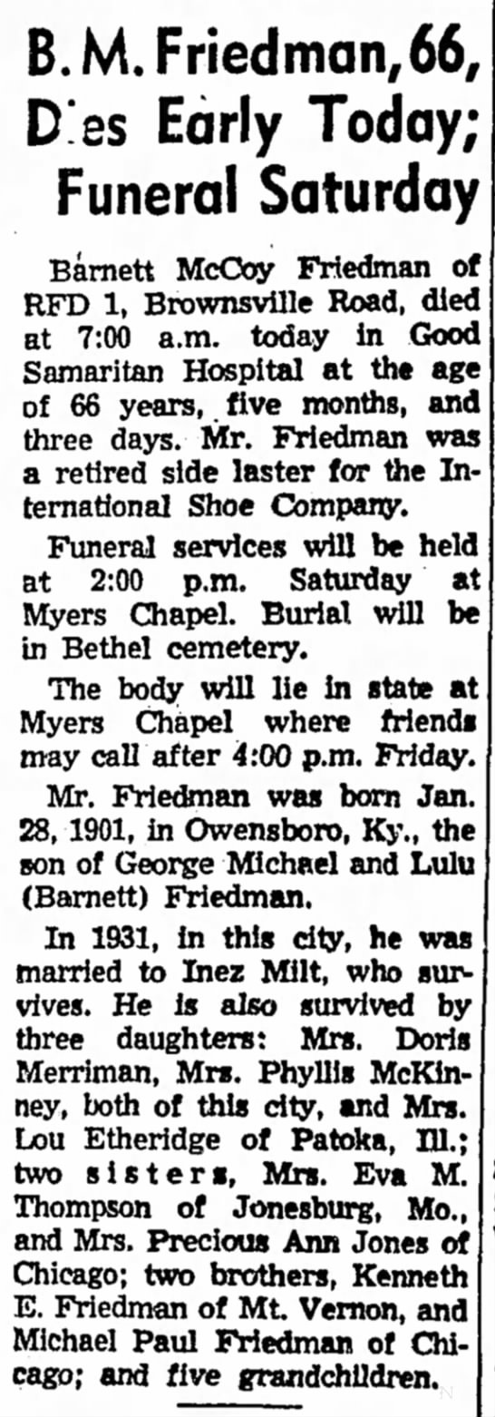 Barnett McCoy Friedman newspaper obituary -