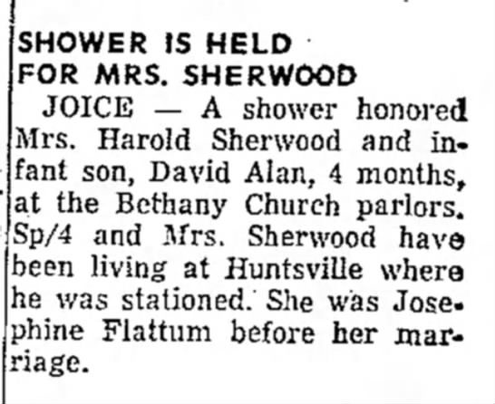 Shower is held for Mrs. Sherwood - SHOWER JS HELD FOR MRS. SHERWOOD JOICE — A...