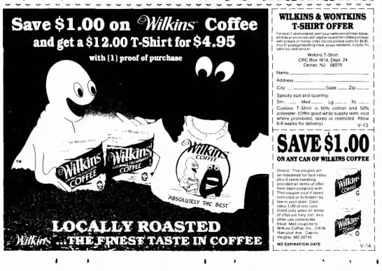 Wilkins Coffee ad, promoting a t-shirt with Wilkins and Wontkins. -