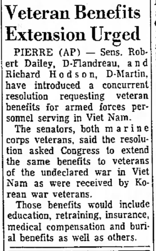 Robt Dailey wants benefits for Viet Nam vets - t h a g e have Eids. Veteran Benefits Extension...