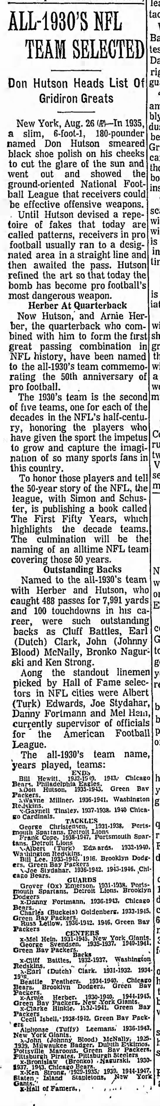 All-1930's NFL Team Selected -