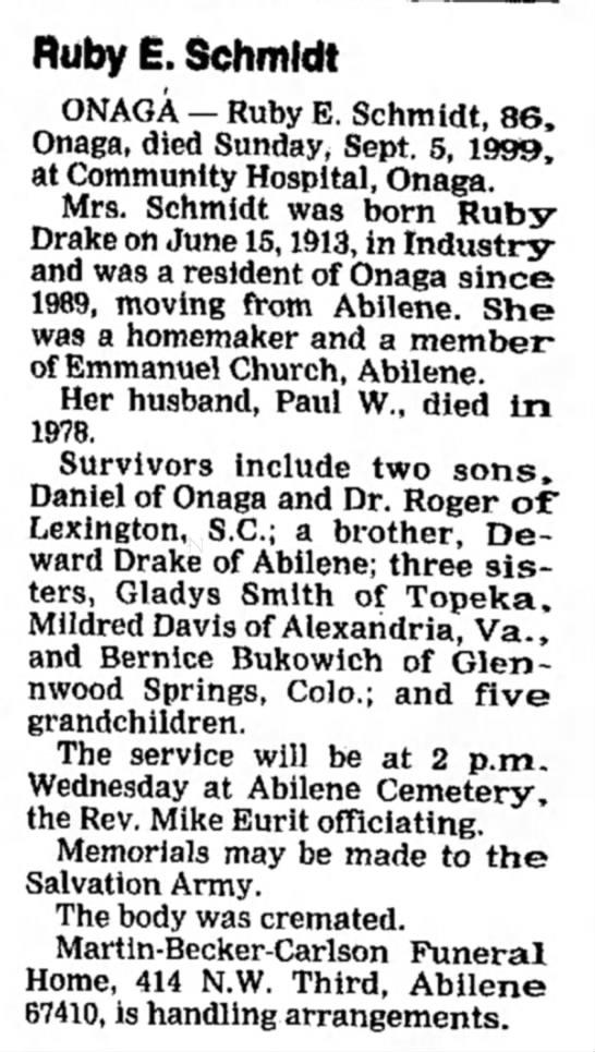 Schmidt, Ruby Drake Obituary - Ruby E. Schmidt ONAGA — Ruby E. Schmidt, 86,...