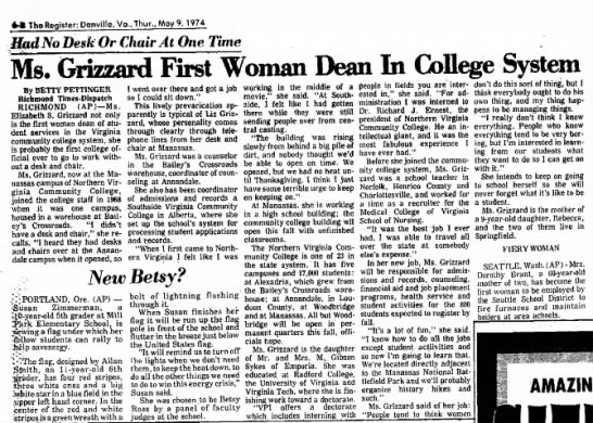 Martha Elizabeth Sykes Grizzard First Woman Dean in College System -