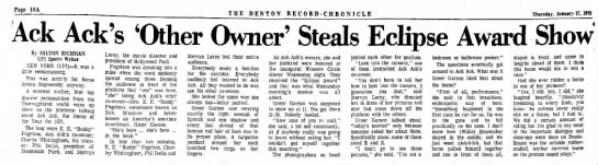 Delightful interview with Ack-Ack's co-owner, Greer Garson Fogelson. 1/27/72.  - Page 10A T H E D E N T O N H E C O R D - C H R...