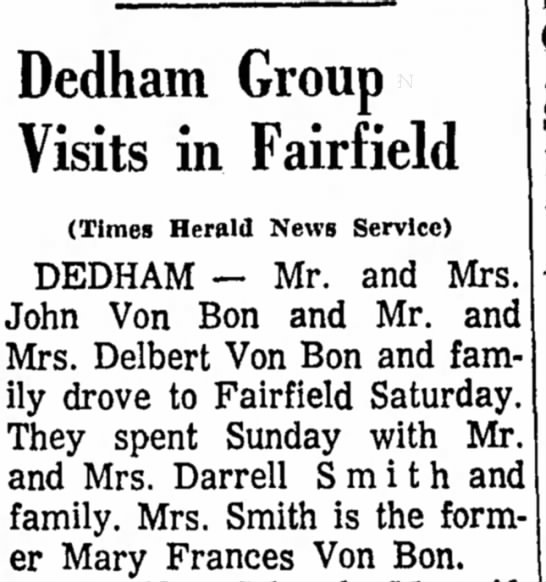 Mary Von Bon 19 May 1967 Dedham Group Visits in Fairfield -
