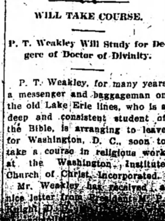 P.T. Weakley to study for Doctor of Divinity 5 Aug 1933 -