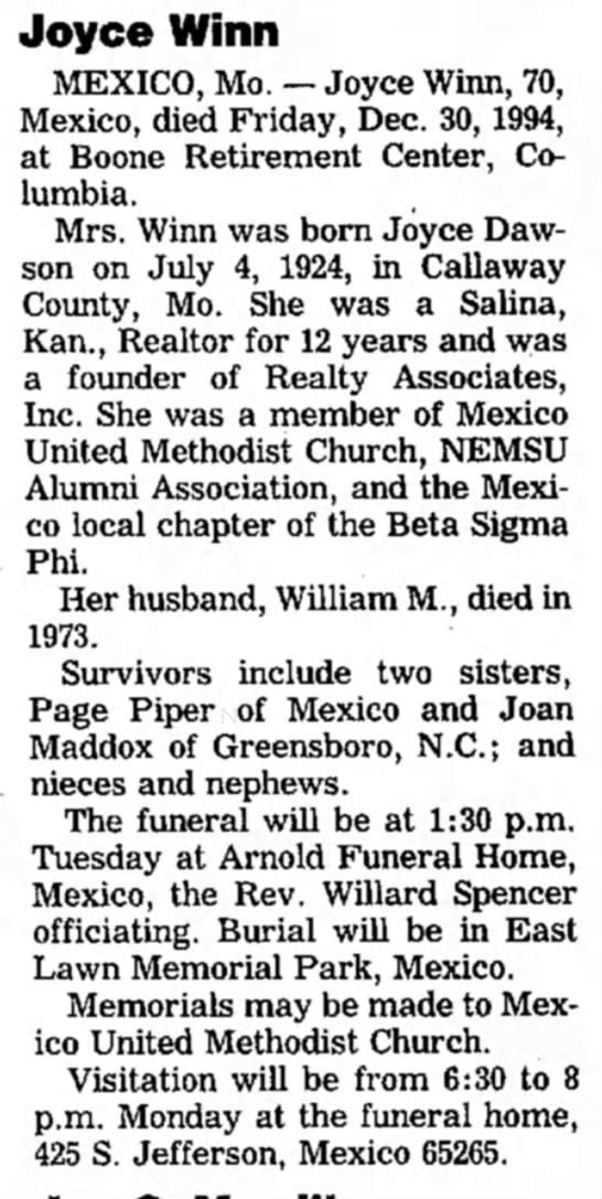 Joyce Winn - Joyce Winn MEXICO, Mo. — Joyce Winn, 70,...