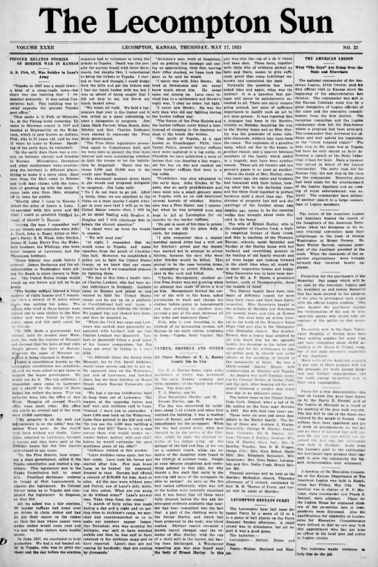 Lecompton Pioneer of 1857 Tells of Border War in Kansas -