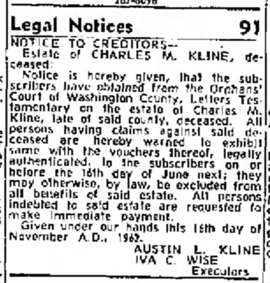 ExecutorIva1962 - bed- Legal Notices NOTICE TO CREDI 9) ----- ._...