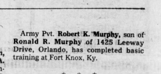 - Army Pvt. Robert K. 'Murphy, son of-Ronald R....