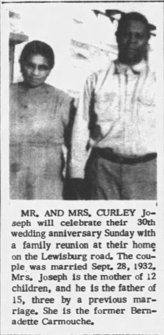 News Paper Article-Mr  & Mrs Curley Joseph-30th Anniversary