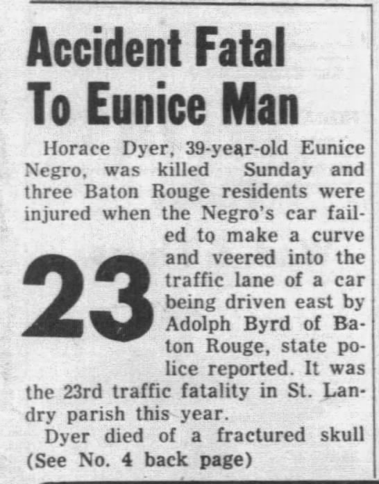 Horace Dyer auto accident - Newspapers com