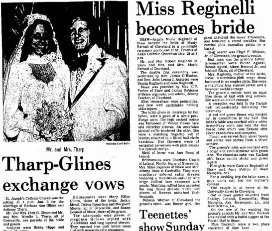 Barbati Reginelli Wedding announcement 1976 -