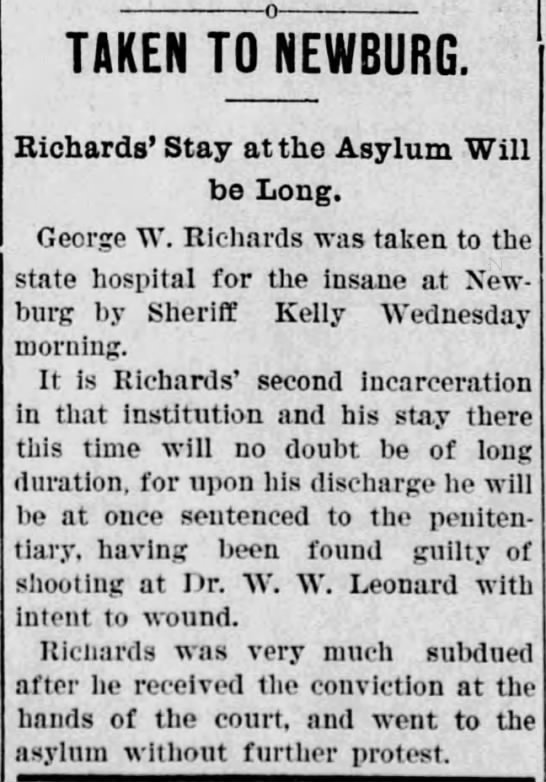 George Richards sent to asylum -