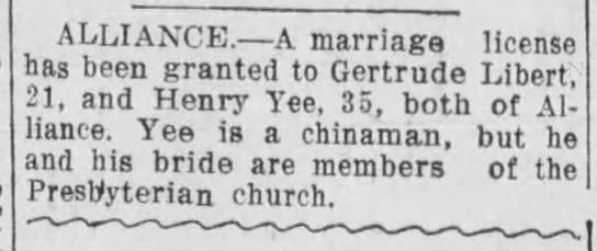 Marriage license granted to Gertrude and Henry Yee -