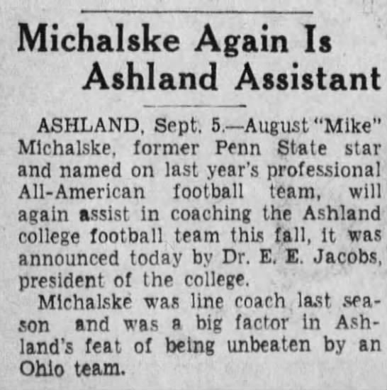 Michalske Again Is Ashland Assistant -