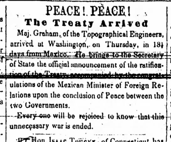 Adams Sentinel, June 19, 1848 -  PEACE -