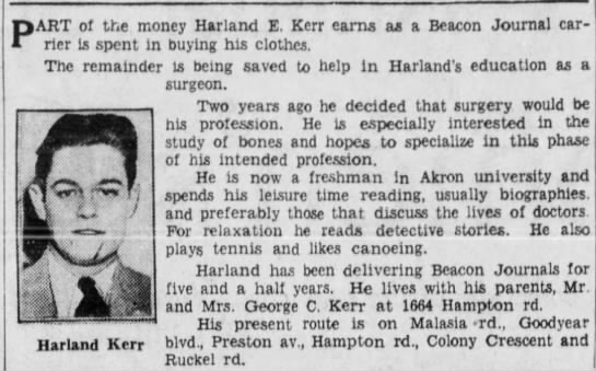 Harland E Kerr feature story -
