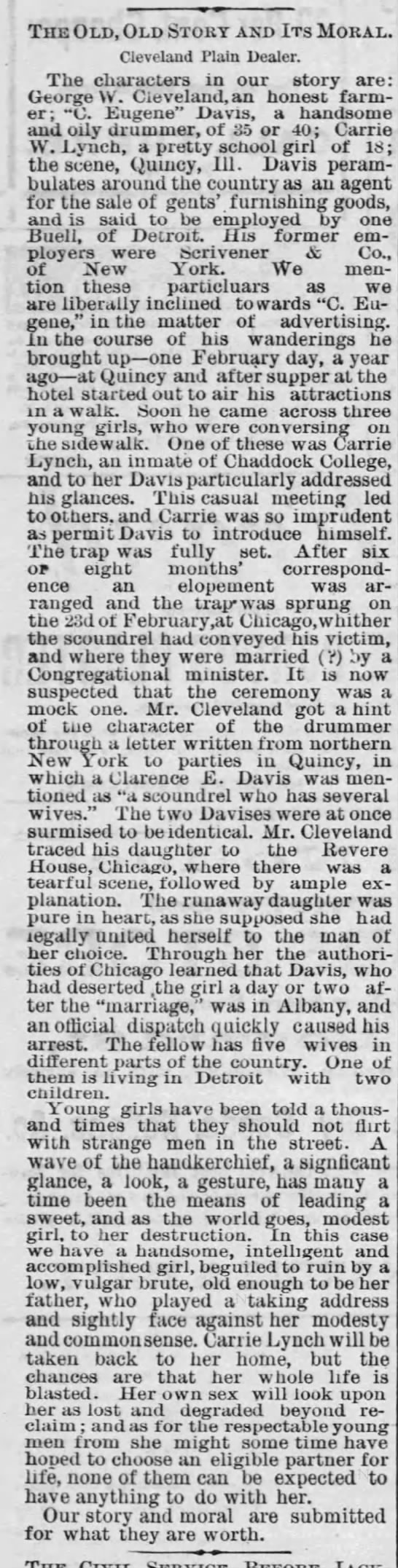 March 24, 1880 The Summit County Beacon (Akron, OH) The Old, Old Story and Its Moral -