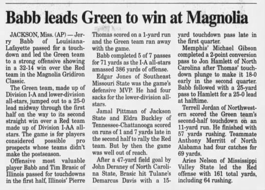 Babb leads Green to win at Magnolia -