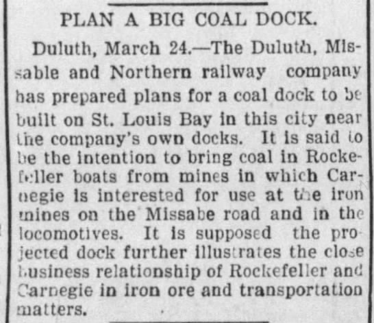 new Duluth ore dock planned in 1897 -