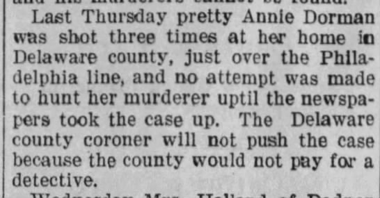 Mention of Annie Dorman's death in South Dakota paper -