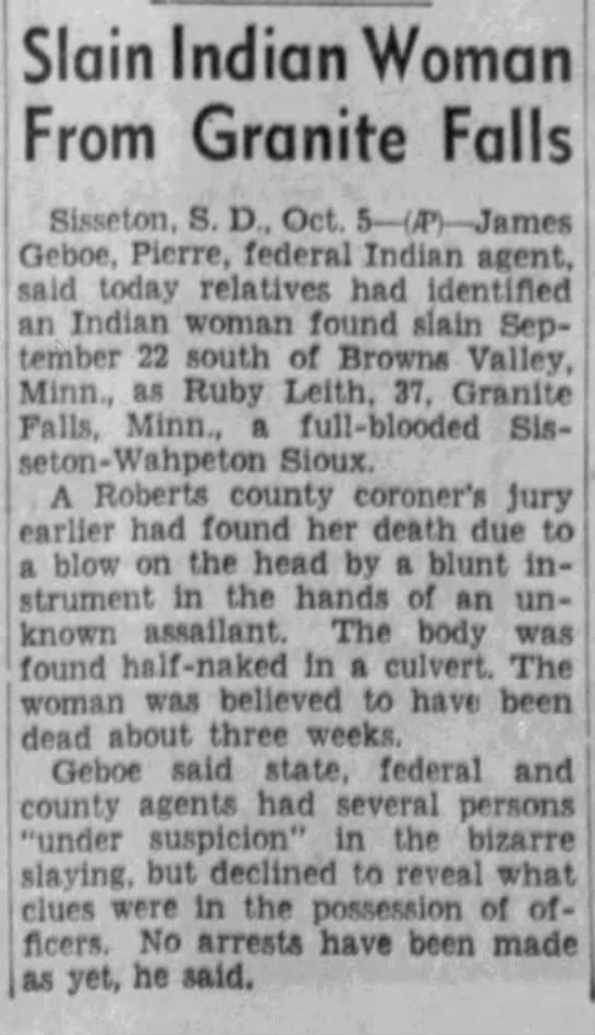 19461006 Argus Leader Sioux Falls Sd Slain Iw From Granite