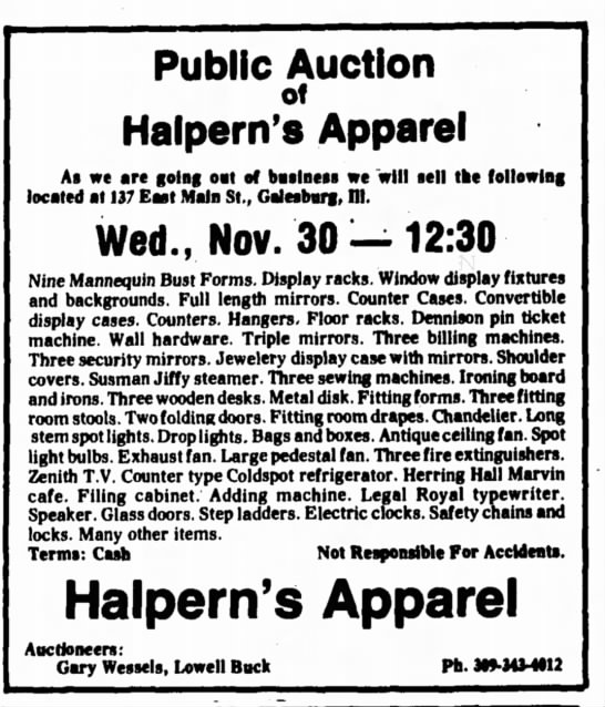 - Public Auction of Halpern's Apparel A* we are...