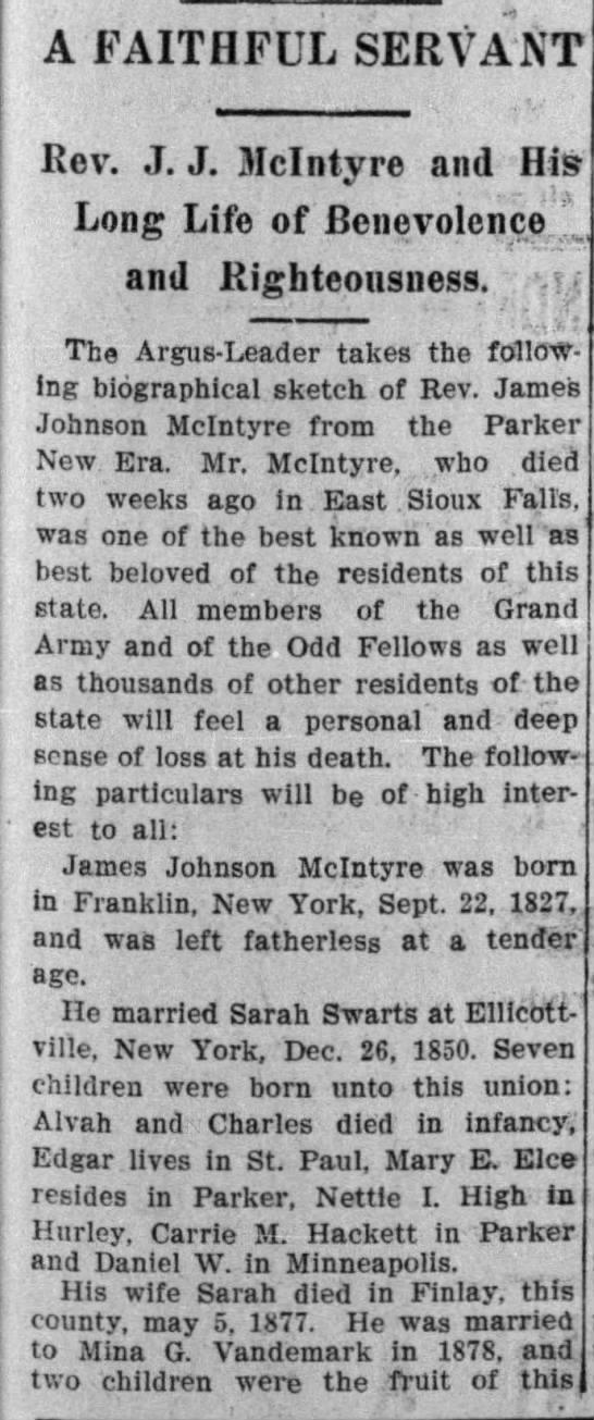 James Johnson McIntire obituary-pt 1 -