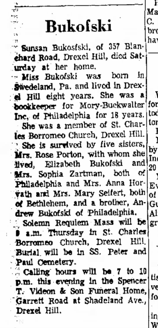 Susan Bukofski obituary 2/27/1963 Delaware County Daily Times, Chester PA -