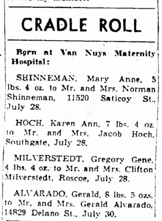 Milverstedt, Gregory Gene - CRADLE ROLL Bpm »t Hospital: Van Nuyn...